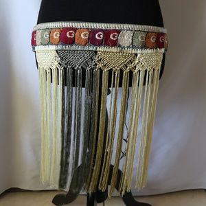Accessories - Denim Embroidered Fringe Belt